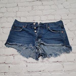 We The Free Denim Distressed Blue Short Shorts 25